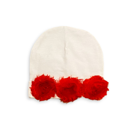Shabby Chic Flower Beanie - Red