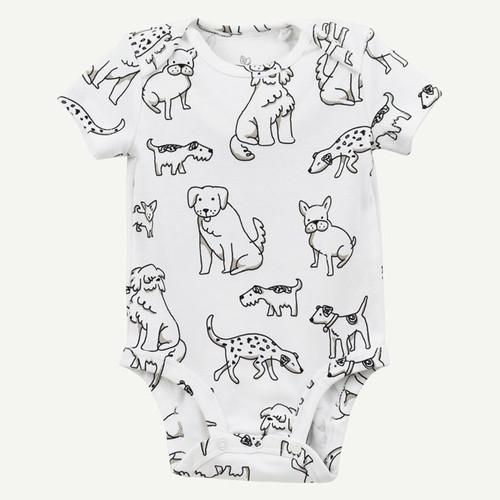 Dog Print Bodysuit - Short Sleeve