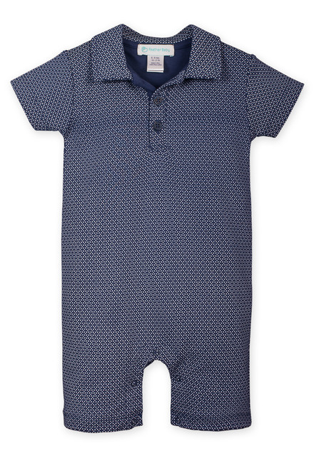Collard Romper - Tiny Geo on Indigo