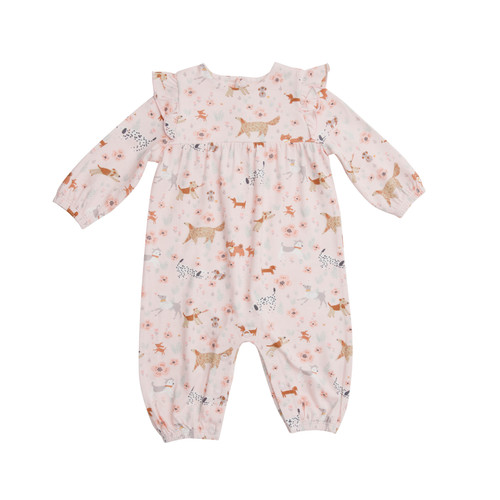 Ruffle Sleeve Romper - Floral Pups