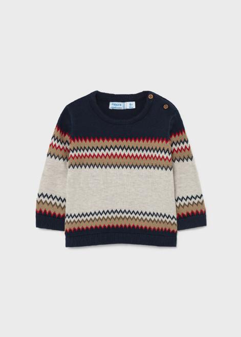 ZigZag Blue & Tan Sweater