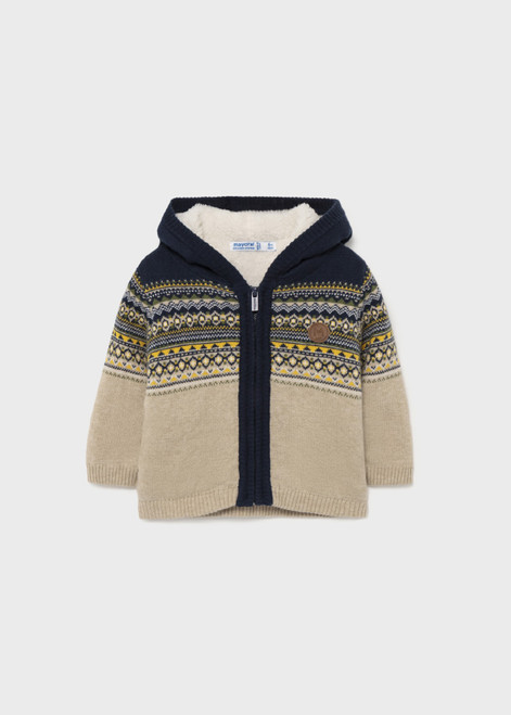 Sherpa Lined Knit Sweater Zip Up