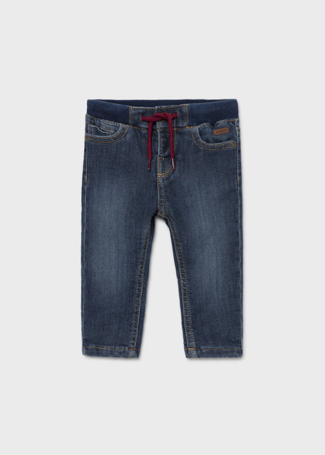 Pull on Denim Pant with Red Tie