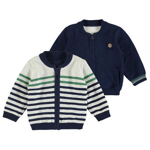 Navy Stripe Zip Sweater - Reversible