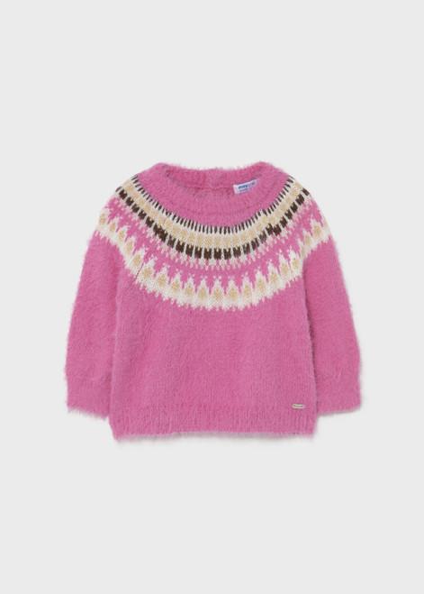 Pink Fuzzy Fairisle Sweater