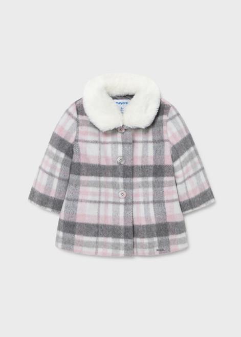 Pink and Grey Plaid Dress Coat