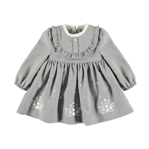 Embroidered Flannel Dress - Grey