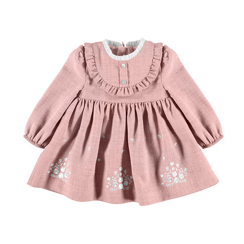Embroidered Flannel Dress - Rose
