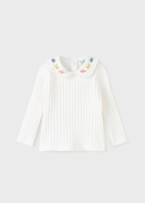 Cream Embroidered Collar Top