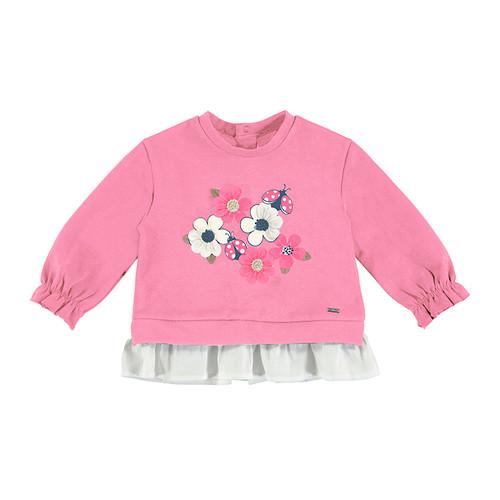Floral Applique Pink Sweatshir