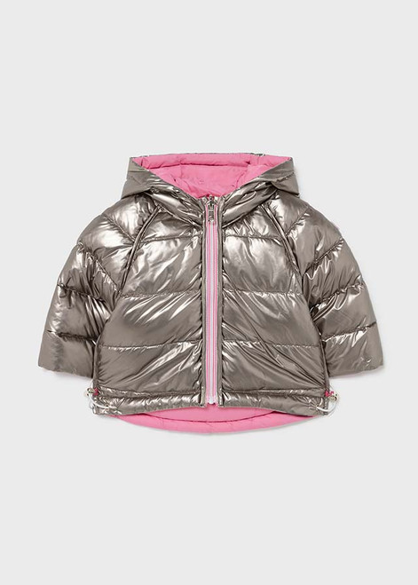 Silver Metallic Reversible Coat