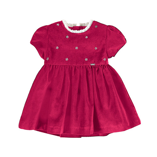 Red Velour Embroidered  Dress