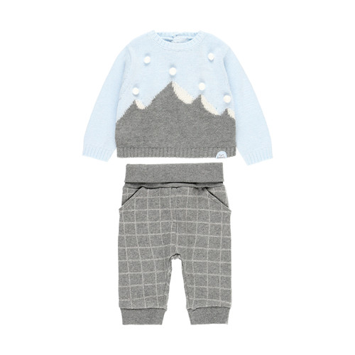 Blue and Grey Sweater & Pant Set