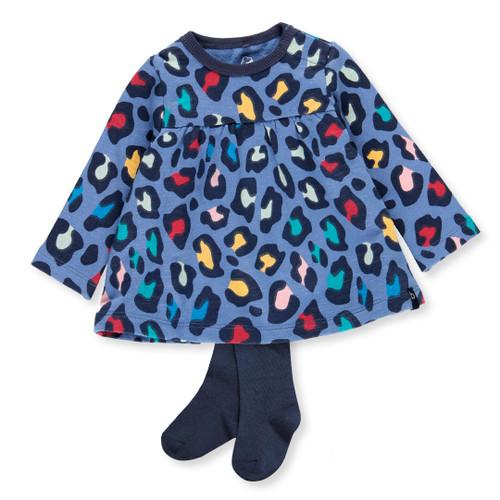 Blue Leopard Dress + Tights Set