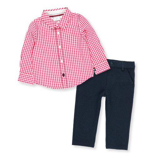 Red Checkered Top + Navy Pant Set