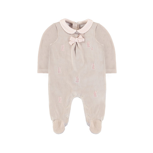 Velour Bunny Embroidered  Footie - Taupe