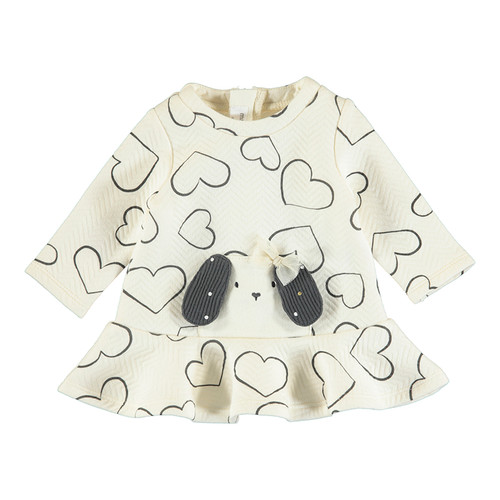 Ivory Quilted Dress with Hearts