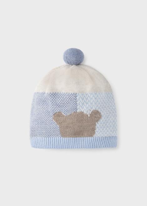 Bear Intarsia Hat - Blue