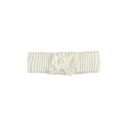 Flower Knit Headband - Cream