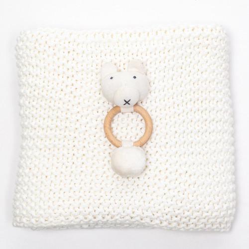 Organic Comfy Knit Blanket Giftset - White