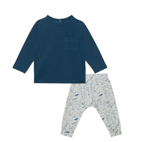 Organic Cotton Top + Pant Set - Blue Ash