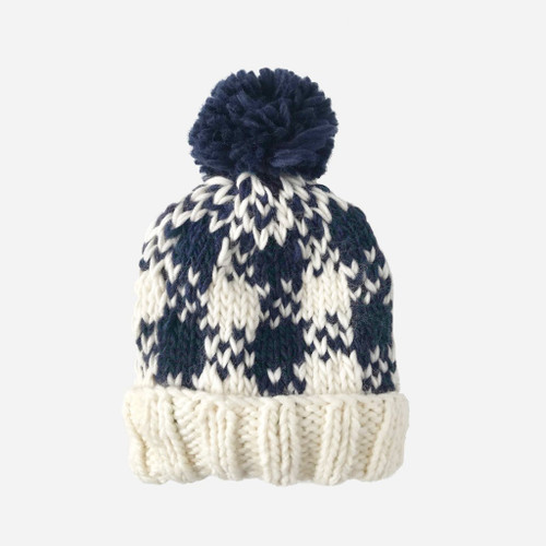 Buffalo Check Knit Hat - Navy