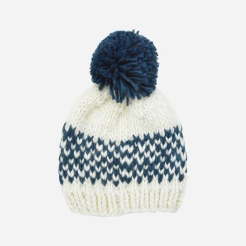 Fair Isle Stripe Hat - White + Navy