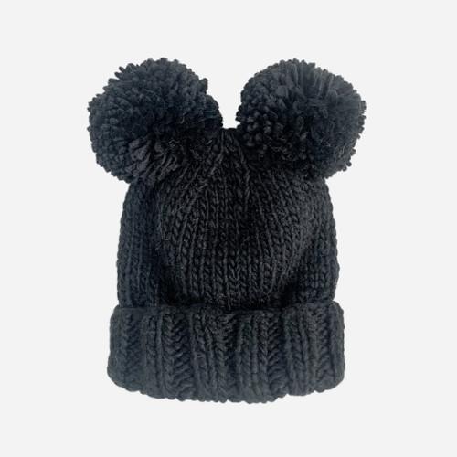 Paxton Double Pom Pom Knit Hat - Black