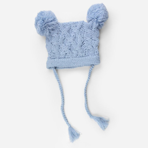 Quinn Cable Knit Pom-Pom Hat - Blue