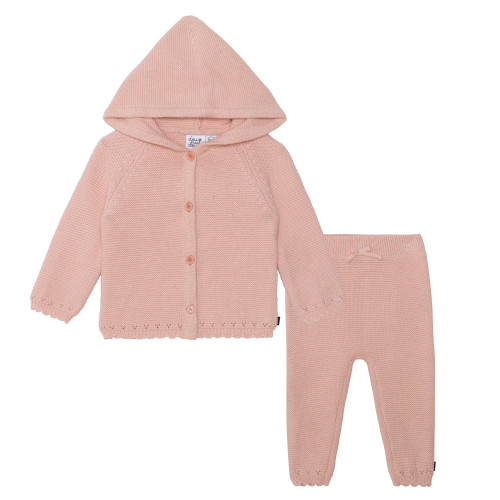 Knitted Cardigan and Pant Set - Pink