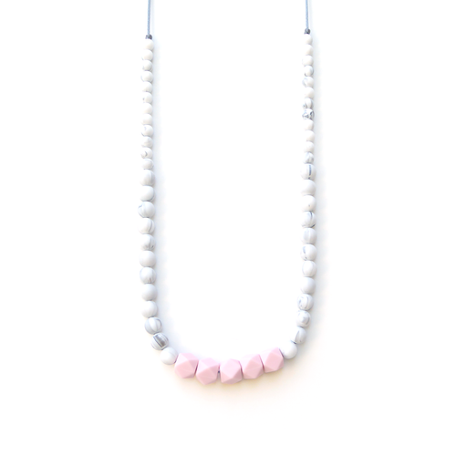 Pink Marble Silicone Teething Necklace