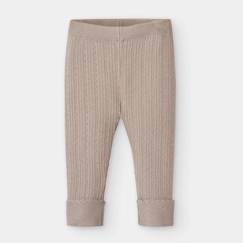 Tan Ribbed Knit Legging