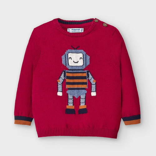 Burgundy Robot Sweater