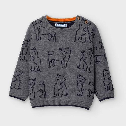 Grey Dog Print Sweater