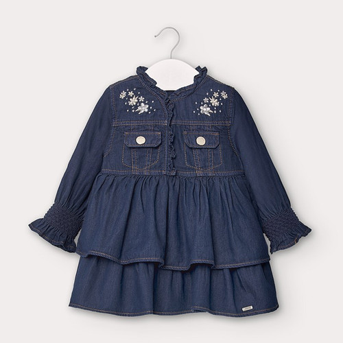 Denim Dress with Silver Embroidery