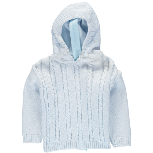 Hooded Cable Zipback Sweater-Blue