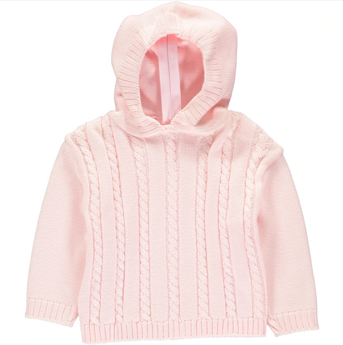 Hooded Cable Zipback Sweater-Pink