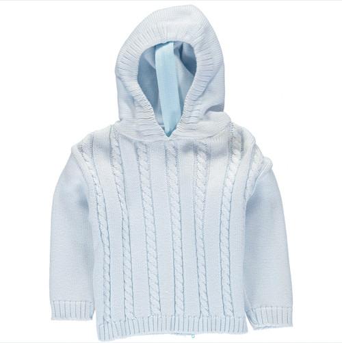 Zip Back Hooded Sweater - Light Blue - A+C
