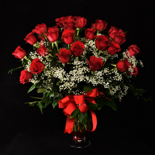 PERFECT THREE DOZEN RED IN A BEAUTIFUL DESIGNER VASE