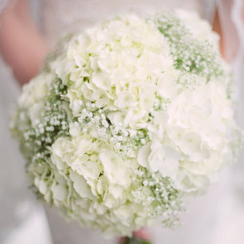 Hydrangea And Baby S Breath Bridal Bouquet Kelilabee Flower Company