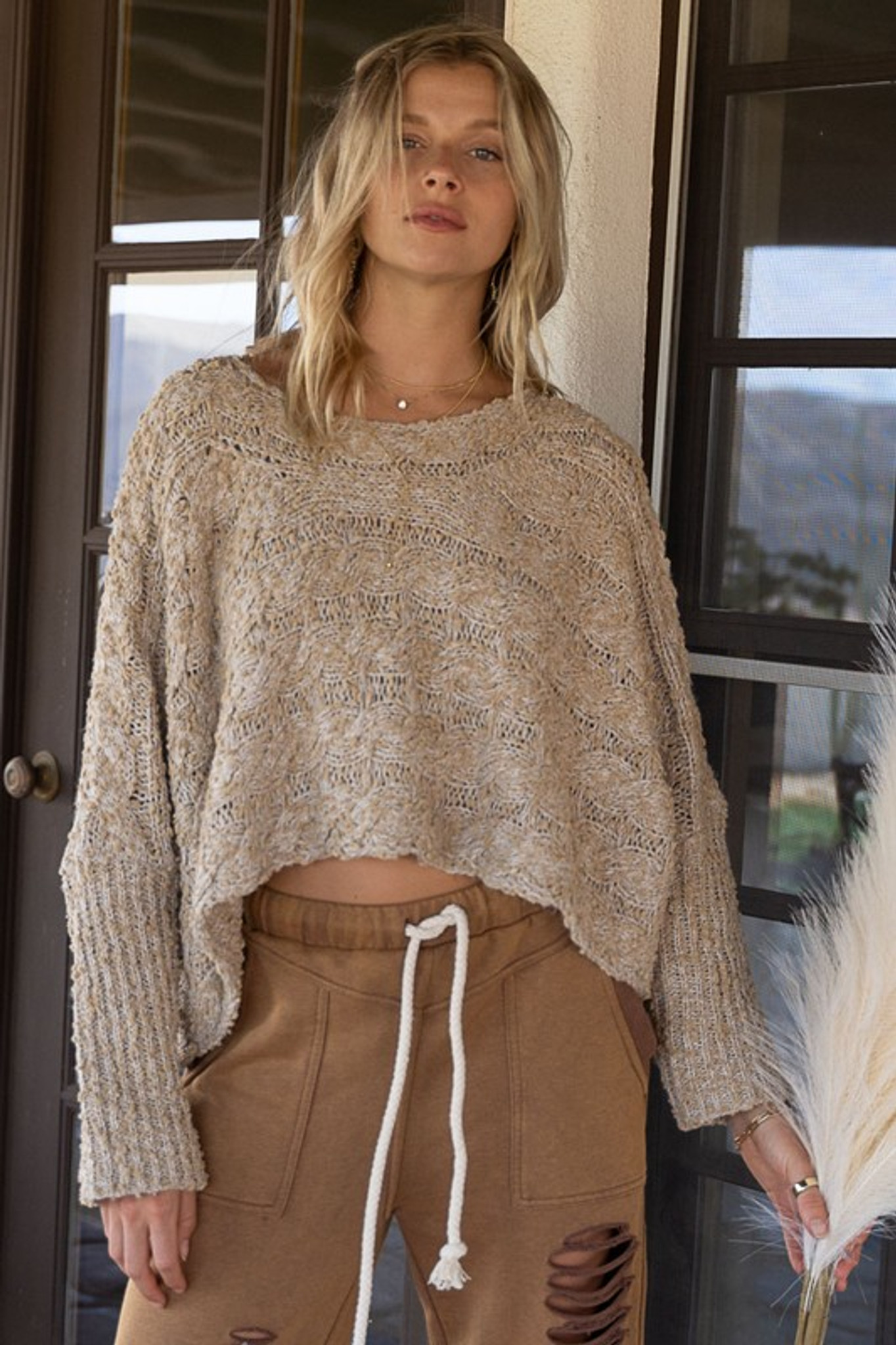 Braided Knit Cropped Sweater- Oatmeal