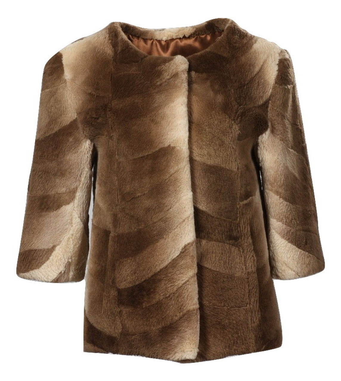 def5eb37e1c Brown Beaver Fur Jacket Sheared 3 4 Sleeves Collarless ghost mannequin