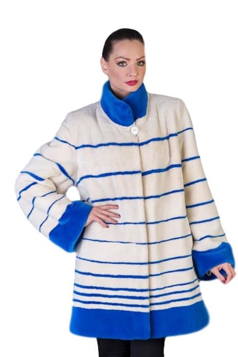 Blue and White Beaver Fur Coat