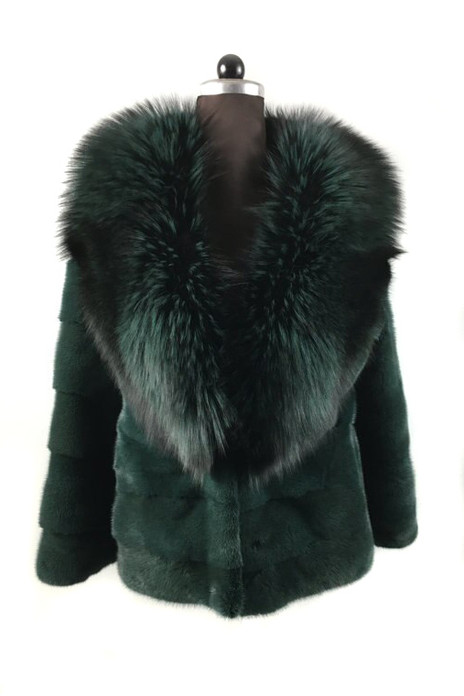 Emerald Green Mink fur coat With Fox Shawl  collar