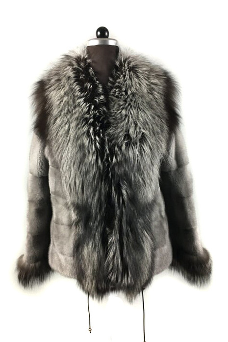 Gray Mink fur coat With Silver fox Collar  Waterfall  and Cuffs Waist Drawstrings   Front Side
