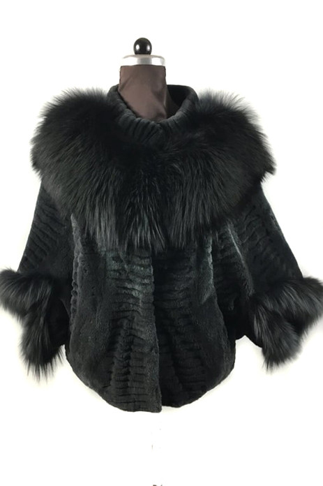 sheared green mink fur cape with fox collar and cuffs sculpted