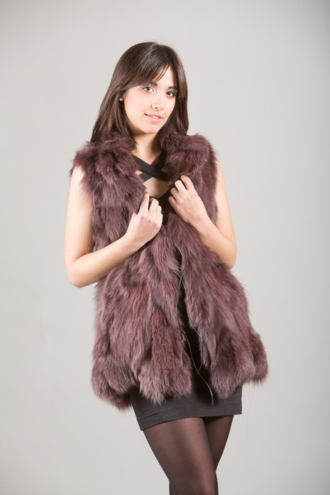 Purple Fox Fur Vest collarless with leather string closure