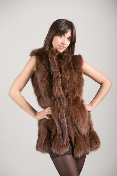 Brown Fox Fur Vest with low ciut collar and leather strings