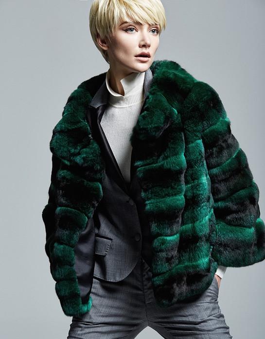 emerald Green Chinchilla Fur Jacket