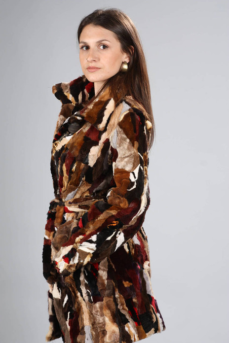Multicolored Mink Fur Coat